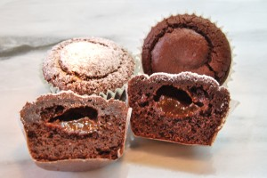 These chocolate muffins with jelly center are yummy and easy to make.