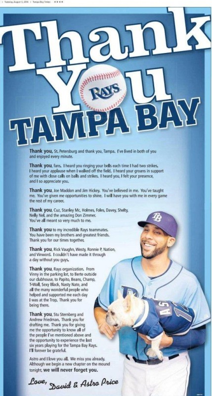 david price thank you tampa bay 8-5-14