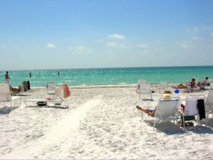 Sarasota is popular for its beautiful white sand beaches on the Gulf of Mexico.
