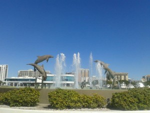 A view of the dolphin fountain at the beautiful Bayfront Park near Marina Jack in Downtown Sarasota.