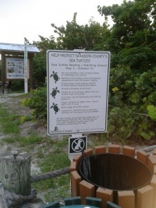 A sea turtle sign at a beach access in Siesta Key.